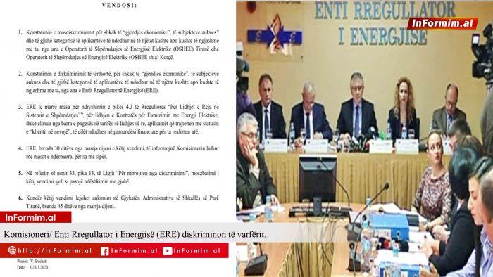 Komisioneri/ Enti Rregullator i Energjisë (ERE) diskriminon të varfërit.