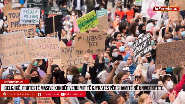 Belgjikë, Protestë masive kundër vendimit të gjykatës për shamitë në universitete.