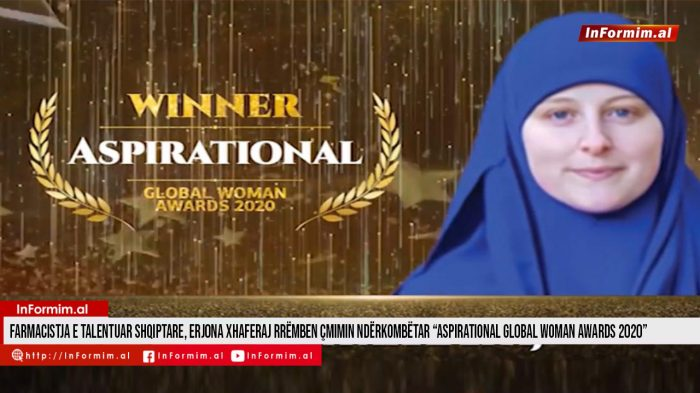 "Farmacistja e talentuar shqiptare, Erjona Xhaferaj rrëmben çmimin ndërkombëtar ""Aspirational Global Woman Awards 2020"""