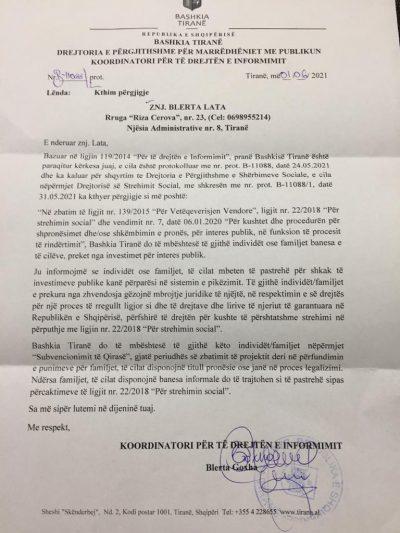 Përgjigjie e Bashkisë Tiranë