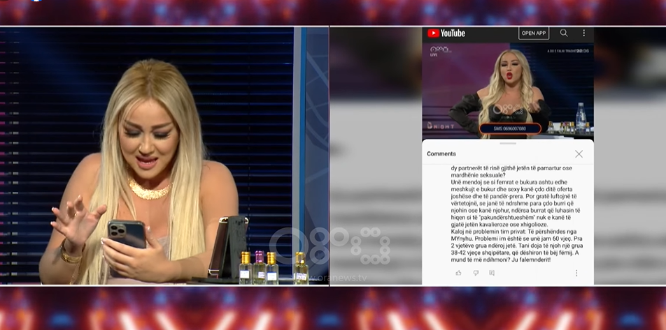 Dajana Shabani fyen dhe tallet me komentuesin live në emision